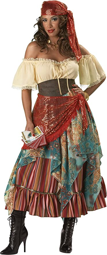 Details about  /4pc Traveling Gypsy /& Fortune Teller Costume Adult Women