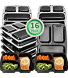 16 Pack Meal Prep Containers 3 Compartment-Plastic Food Storage Containers with Lids,BPA Free,Microwave,Dishwasher Safe-Reusable Bento Lunch Boxes Containers for Portion Control,21 Day Fix