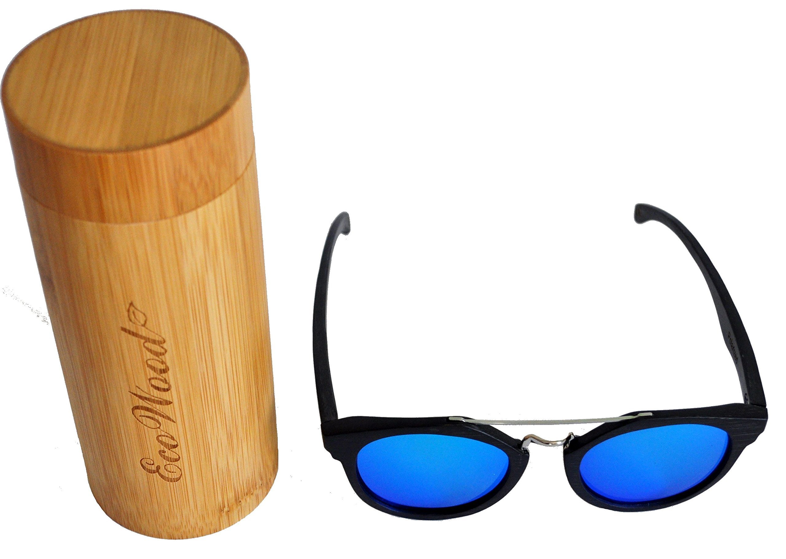 EcoWood Dior Homme Style Black Bamboo Wood Sunglasses with Ice Blue Polarized Lens with bamboo case