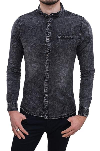 online store 79449 2977e Evoga Camicia di Jeans Uomo Nero Denim con Collo alla ...