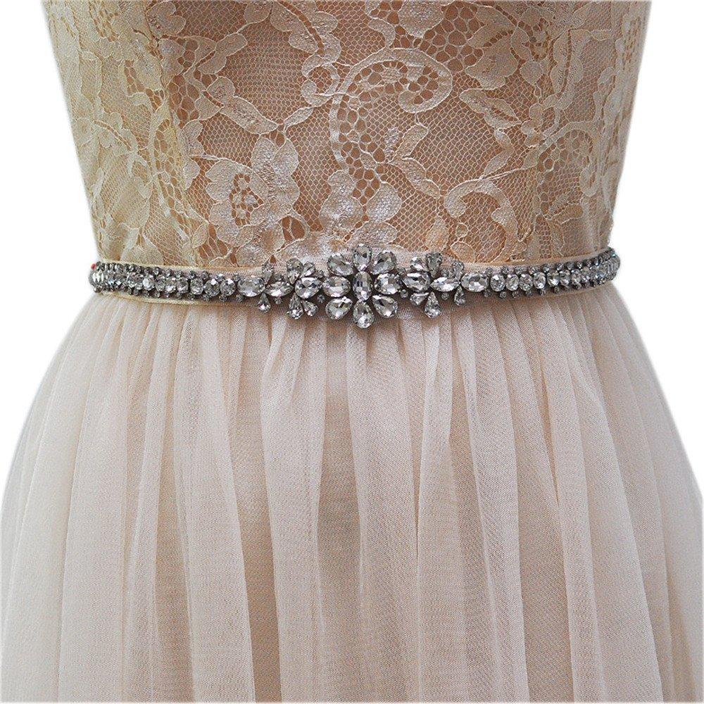 ULAPAN Women's Rhinestones Bridal Sash Bridal Belt Crystals Wedding Belt Wedding Sash (Purple)