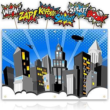 Amazoncom Xl Superhero Backdrop With 6 Comic Action Word Photo
