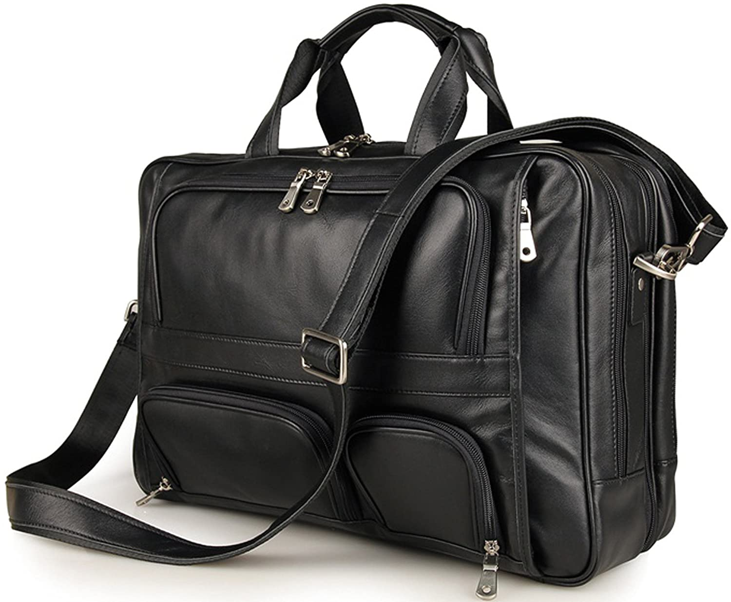 Iswee Genuine Leather Laptop Messenger Bag Business Briefcase Travel Duffel Luggage Bag Large Size-Fit 17 Laptop, Black