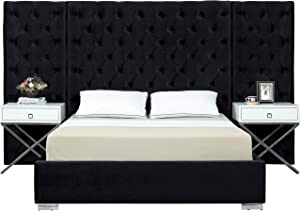 Meridian Furniture Grande Collection Modern | Contemporary Velvet Upholstered Bed with Luxurious Deep Button Tufting and Stainless Steel Legs in Polished Chrome Finish, Black, Queen