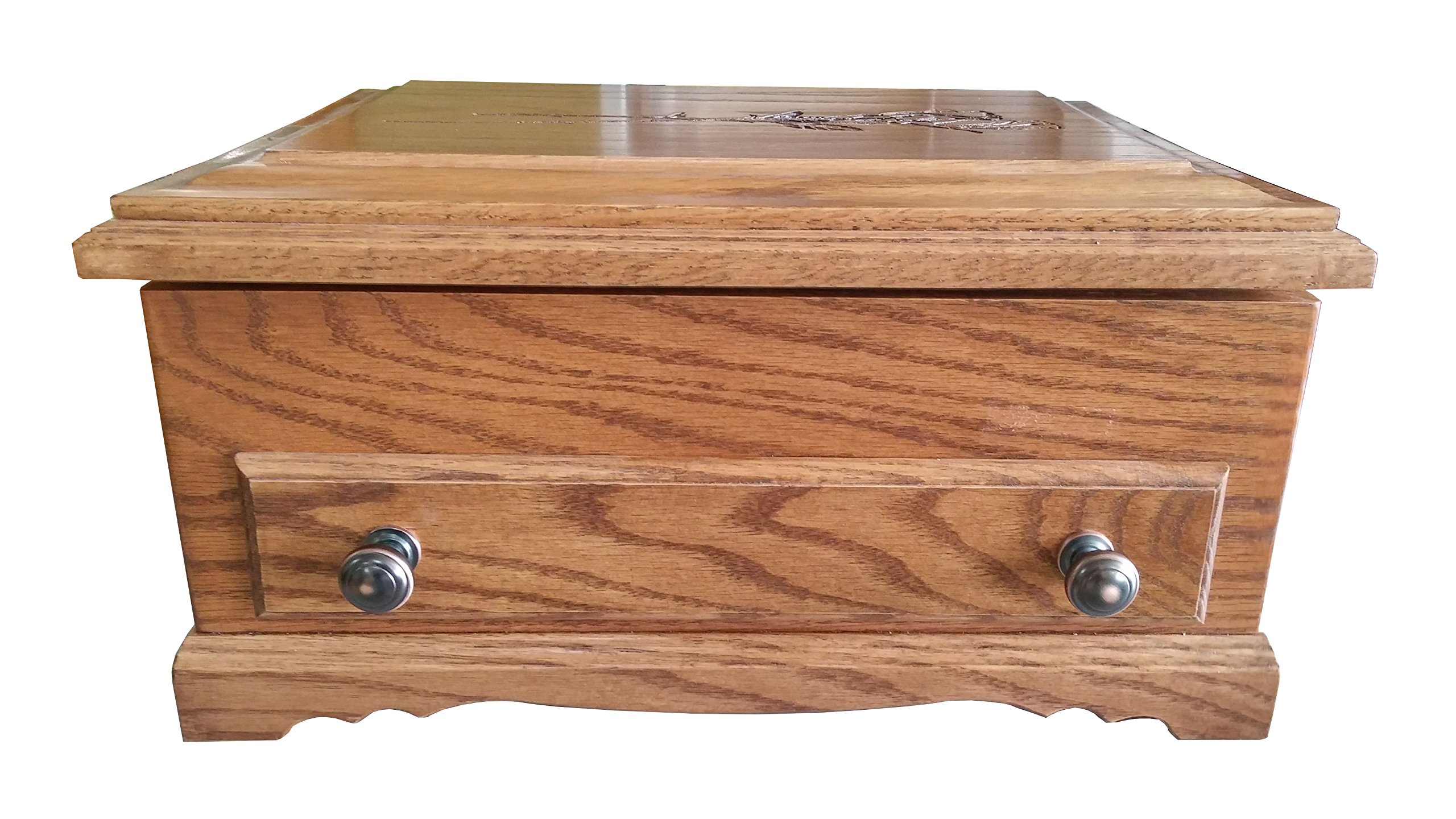 Deluxe Oak Silverware Chest with Rose Design, by H&A