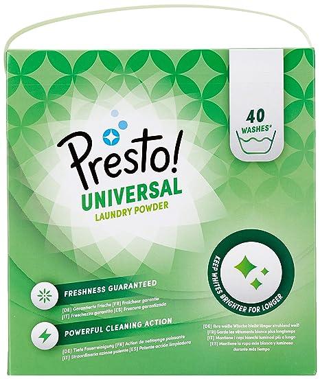 Marca Amazon - Presto! Detergente universal en polvo, 120 lavados (3 Packs, 40 cada uno)