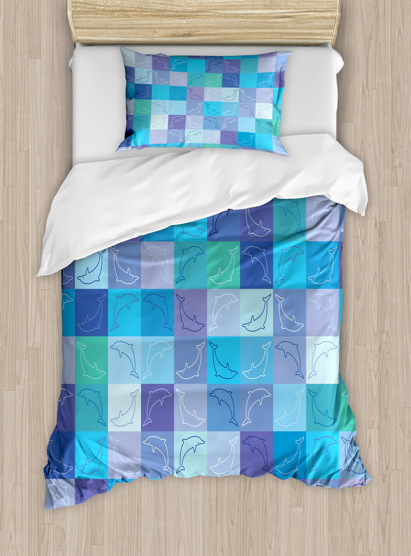 Ambesonne Sea Animals Duvet Cover Set Twin Size, Playful Dolphin Figures in Mosaic of Colored Squares Underwater Life Theme, Decorative 2 Piece Bedding Set with 1 Pillow Sham, Multicolor