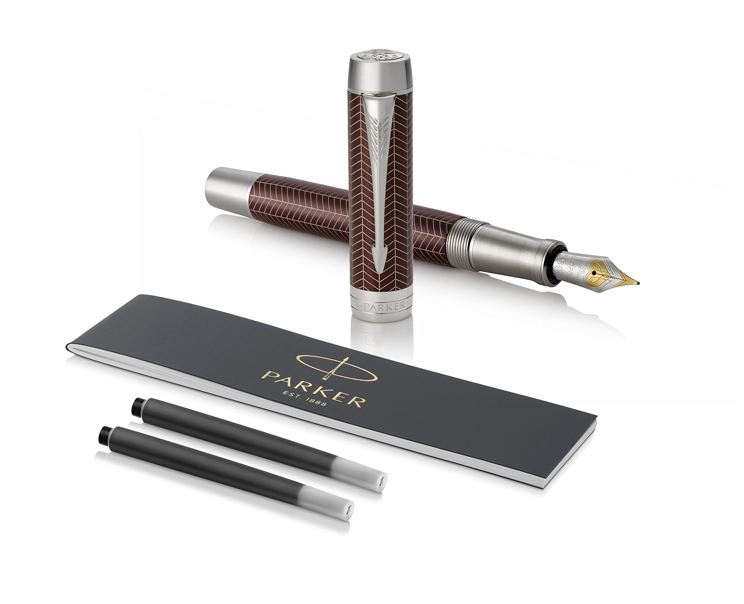 PARKER Duofold Centennial Fountain Pen, Prestige Burgundy Chevron, Medium Solid Gold Nib, Black Ink and Convertor (1945417) by Parker (Image #1)