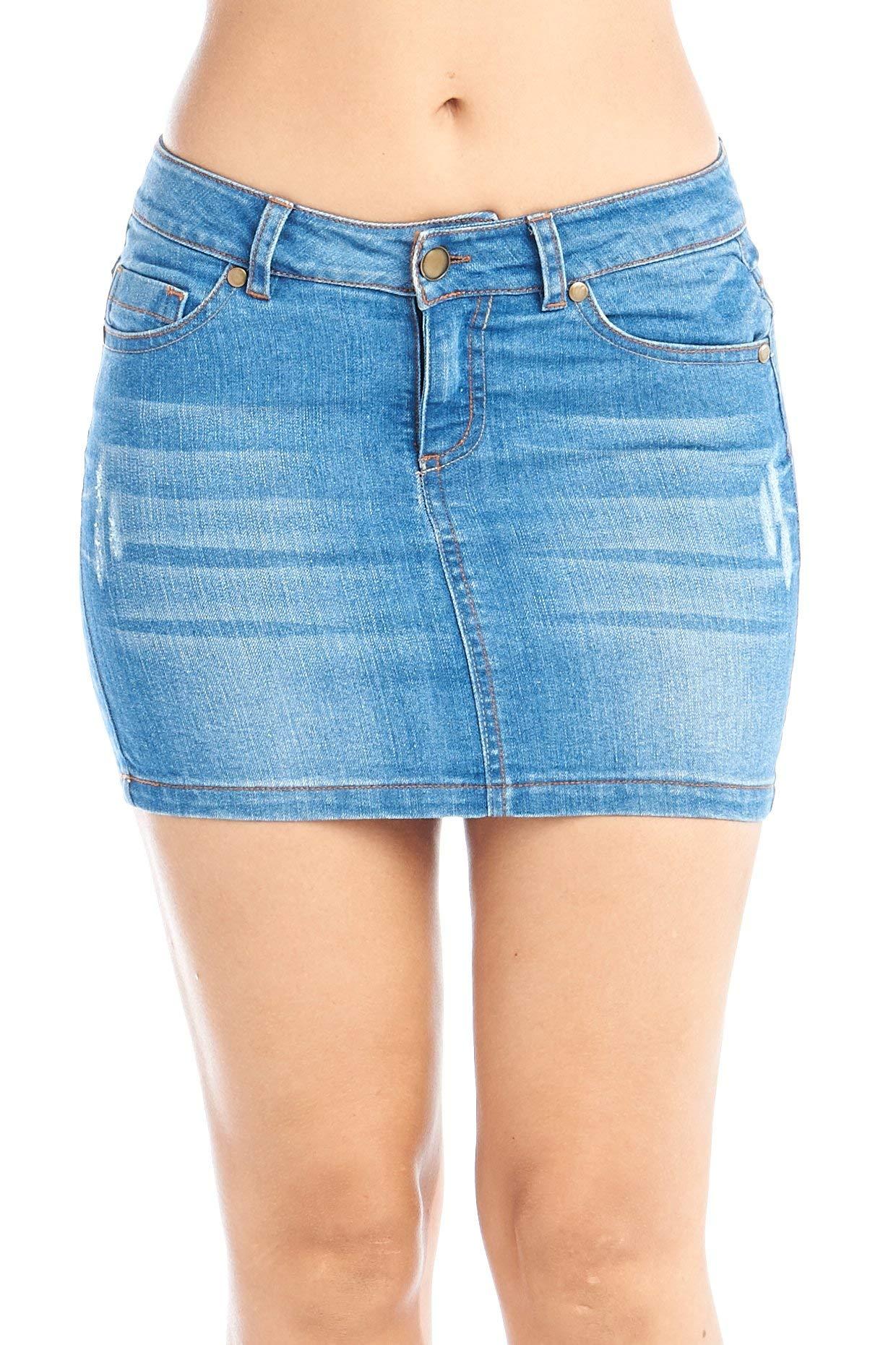 Women's Jeans Denim Mini 5 Pocket Skirts Juniors 3