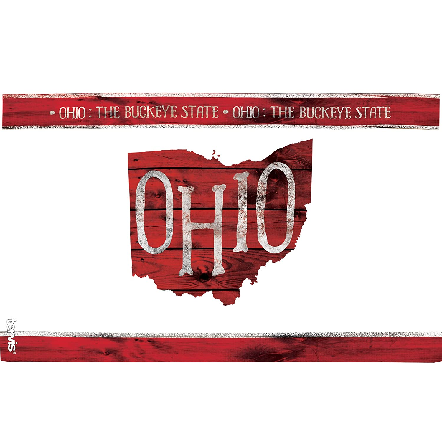 Tervis 1217218 Ohio Outline Insulated Tumbler with Wrap and Red Lid Clear 16oz