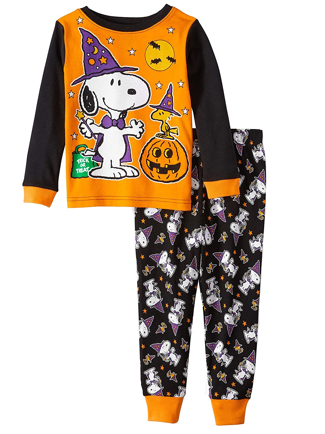 8050524ea9c Peanuts snoopy and woodstock glow in the dark halloween piece toddler boys  pajama set clothing jpg