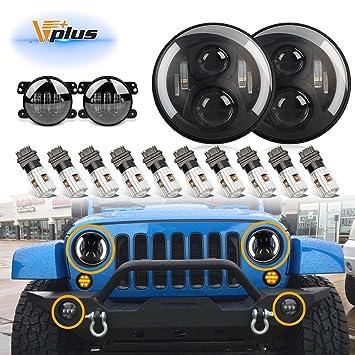 vplus 7 inch led headlights w/half drl halo eyes h/l 60w for 97-17 jeep  wrangler jk tj & wrangler unlimited + 4inch cree 60w fog lights + 3157  3157a backup