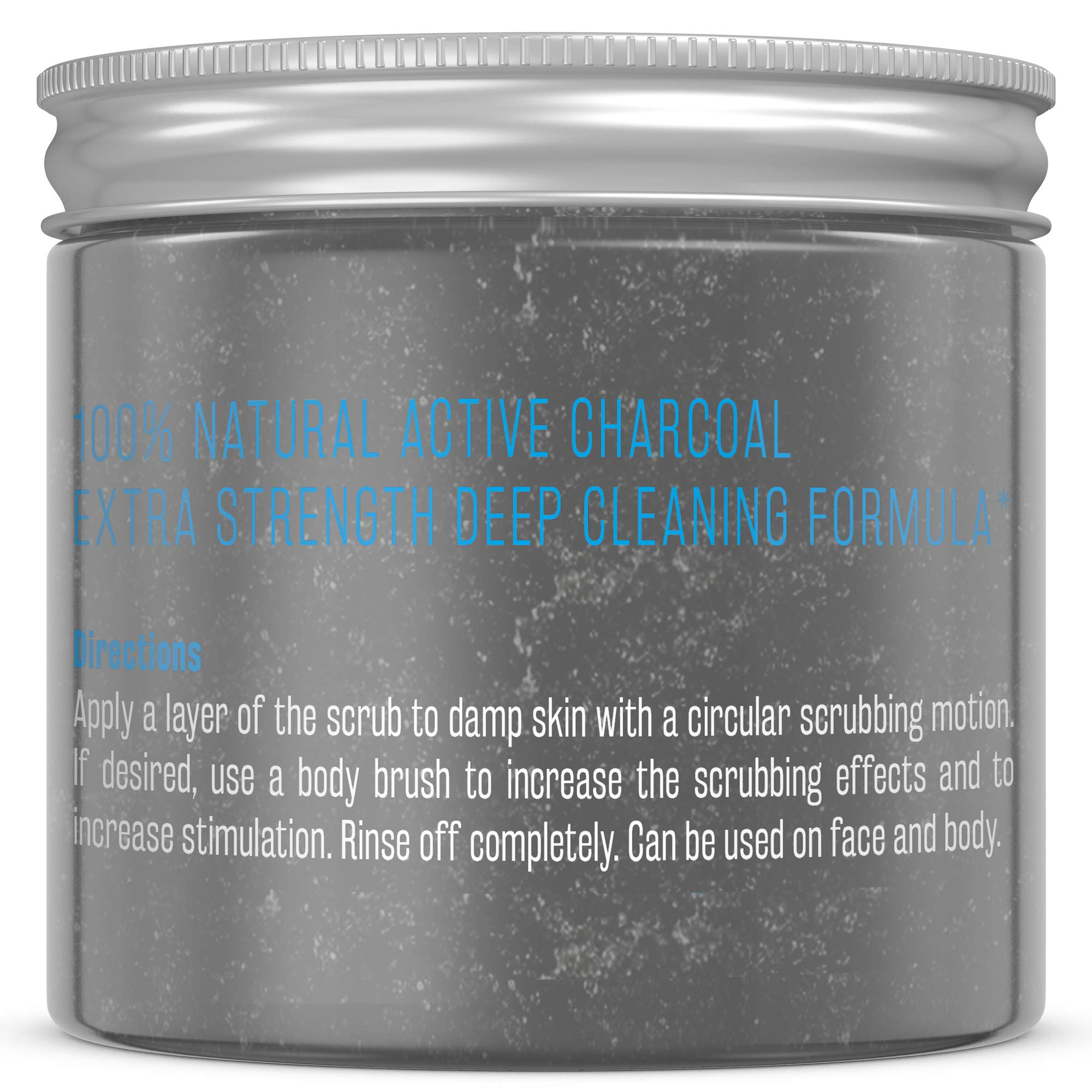 M3 Naturals Activated Charcoal Scrub Infused with Collagen & Stem Cell All Natural Body & Face Skin Care Exfoliating Blackheads Acne Scars Pore Minimizer Reduces Wrinkles Anti Cellulite12 OZ by M3 Naturals (Image #2)