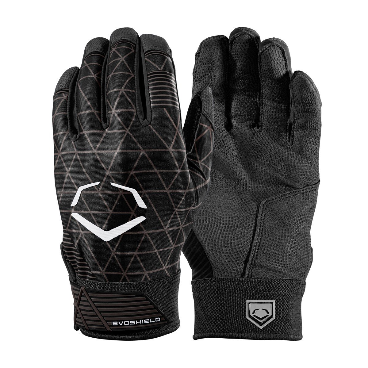 Evoshield evocharge保護用バッティング手袋 B0741JK72V Large|ブラック|ユース ブラック Large