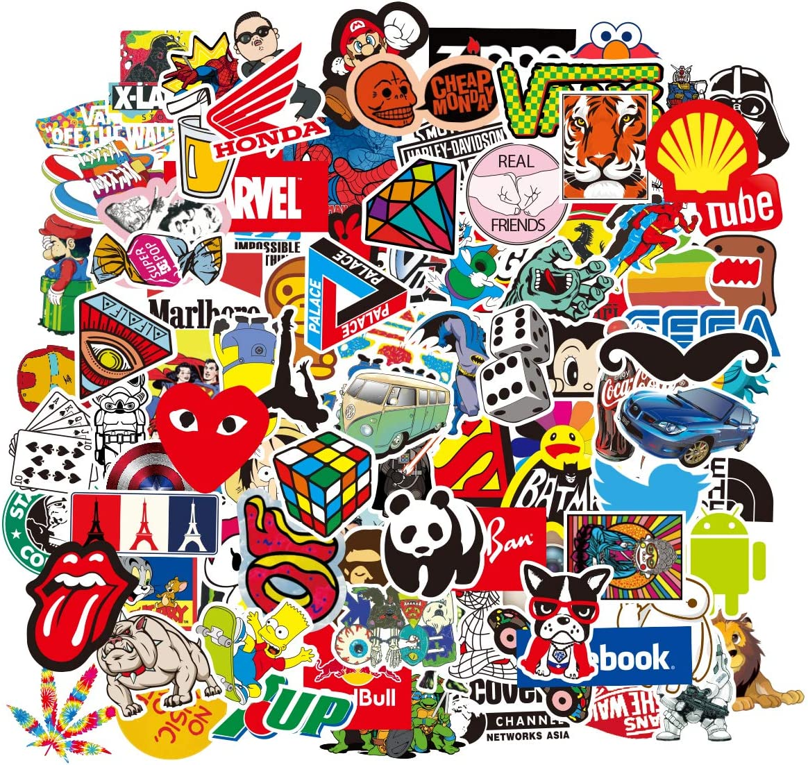 Water Bottle 100 Stickers Laptop Stickers Pack 100 Pcs Decals for Water Bottle Laptop Ipad Car Luggage Helmet