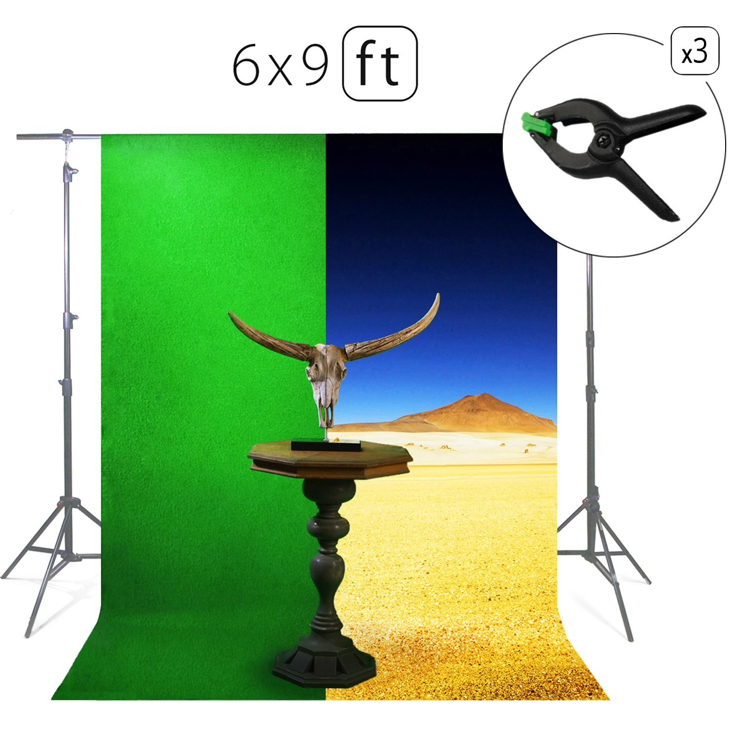 Green Screen Photo Backdrop or Background 6х9 Ft – 100% Cotton Muslin Chromakey Curtain Collapsible Set for Photography Studio Videos Gaming - Bonus 3 Backdrop Clamps & a Carry Bag - MUVR lab by MUVR lab