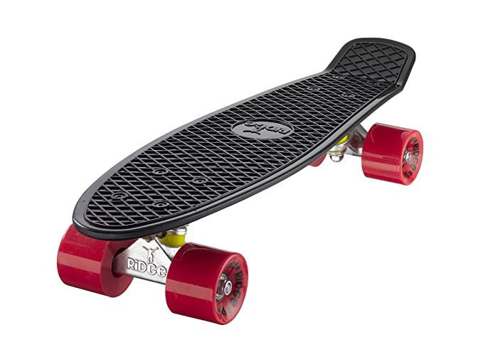Ridge Skateboard 55 cm Mini Cruiser Retro Stil In M Rollen Komplett U Fertig Montiert, Unisex, Negro/Rojo (Noir/Rouge): Amazon.es: Deportes y aire libre
