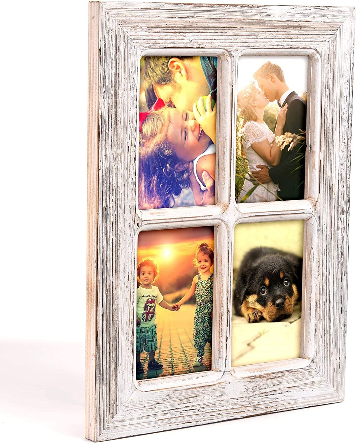 "Juwell Family Collage Picture Frame for 4x6 Photos, Rustic Farmhouse Wood with Clear Plastic Cover, Vertical and Horizontal Display, Modern 15.7"" x 11.75"" Home Decor"