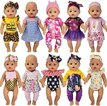 Windoll's 10 Outfit Baby Doll Clothing Set With Headbands