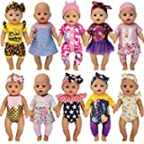 Windolls 10 Sets 14-16 Inch Baby Doll Clothes Dress Outfits Headbands Accessories fits 43cm New Born Baby Doll, Bitty 15 inch