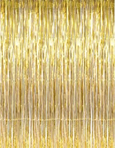 GOER 3.2 ft x 9.8 ft Metallic Tinsel Foil Fringe Curtains for Party Photo Backdrop Wedding Decor (Gold,5 pcs)