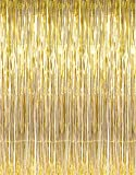 GOER 3.2 ft x 9.8 ft Metallic Tinsel Foil Fringe Curtains for Party Photo Backdrop Wedding Decor (Gold3 pcs)