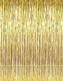 GOER - Cortinas metálicas de hojalata para Fiestas, fotografías, decoración de Bodas, 1 Paquete, Color Dorado