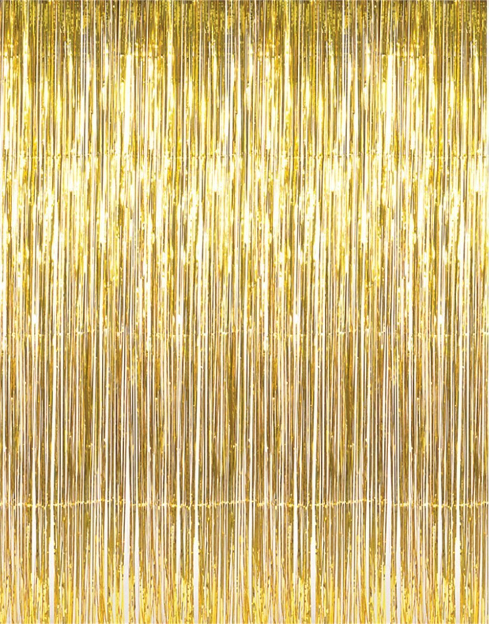 GOER 3.2 ft x 9.8 ft Metallic Tinsel Foil Fringe Curtains Party Photo Backdrop Wedding Decor (2 Packs, Gold) by GOER