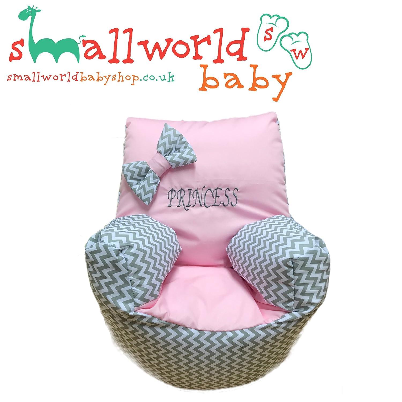 personalisierbar grau Zigzag Pink Kleinkinder Sitzsack Small World Baby Shop