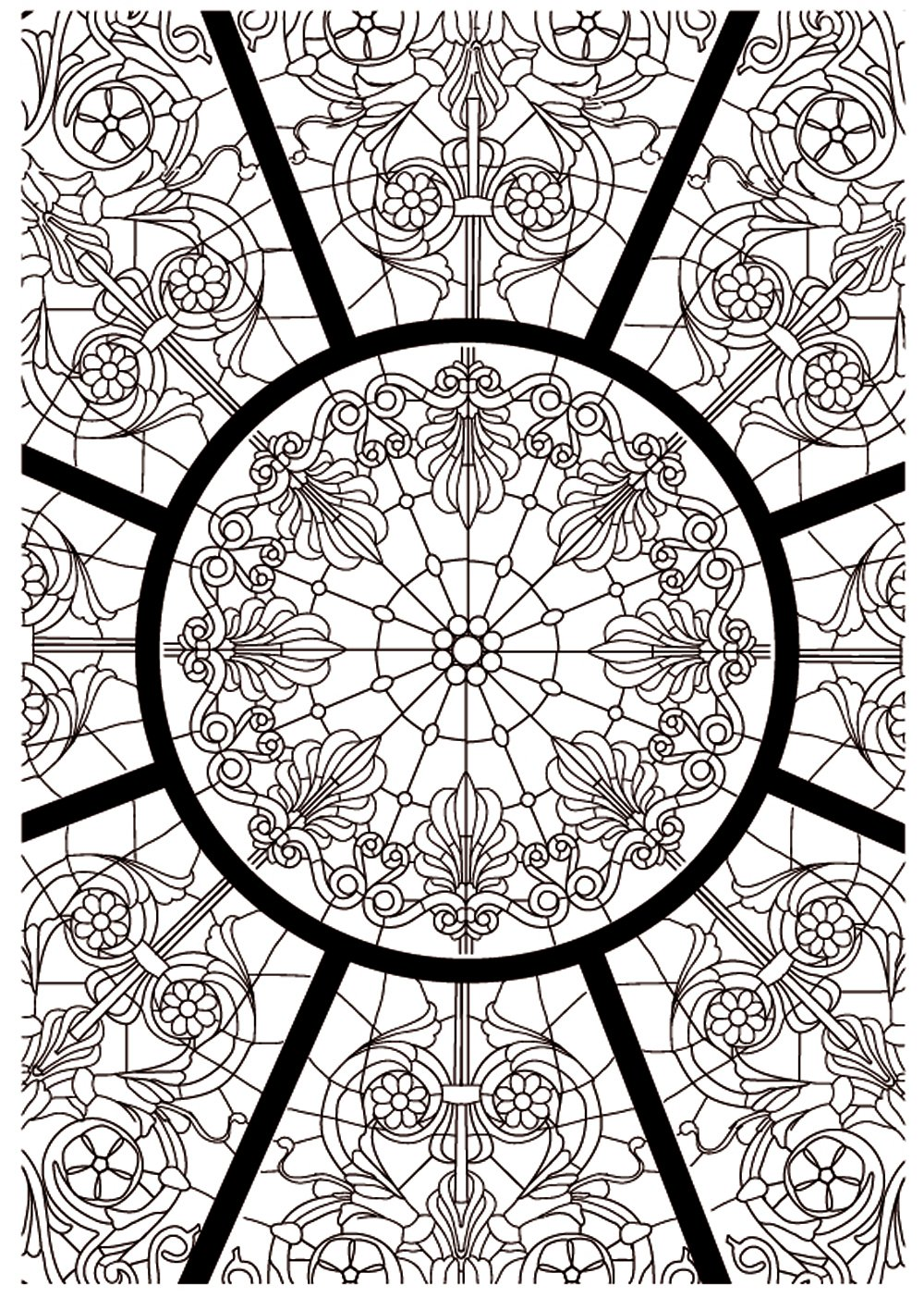 Coloriage anti stress vitraux - Anti coloriage ...