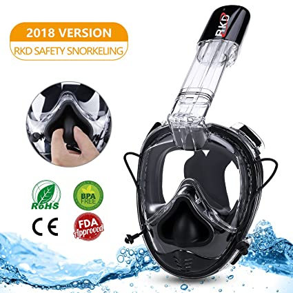b70f3629b6d4 RKD Snorkel Mask Full Face Compatible with Action Camera Mount Replacement  for GoPro Mount Breath Naturally 180° Panoramic View Mask Anti-Fog  Anti-Leak for ...