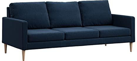 Campaign 86-Inch Steel Frame Brushed Weave Sofa, Midnight Navy with Solid Maple Legs