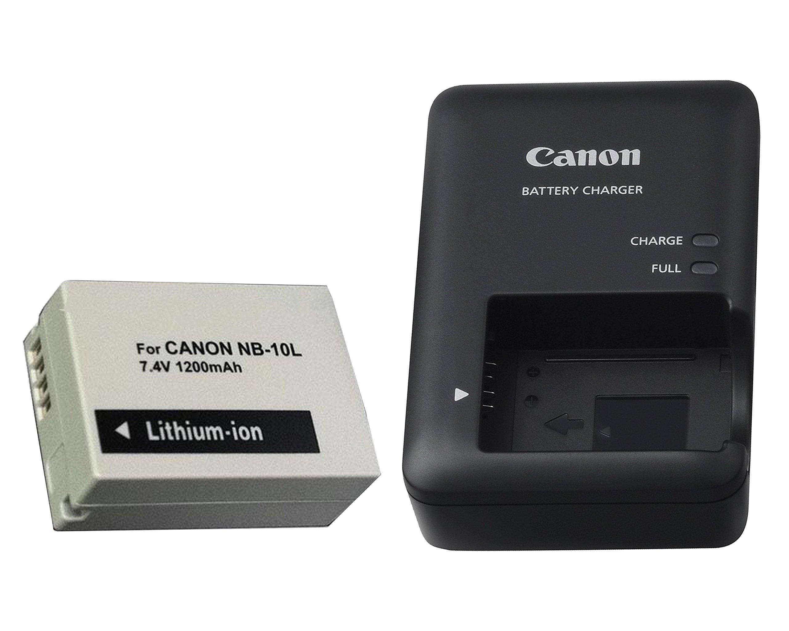 Excelshots, CB-2LC Battery Charger + Proffessional NB-10L Li-ion Battery Pack, for Canon PowerShot SX40 HS, SX50 HS, SX60 HS, G1X, G3X, G15, G16, Digital Camera.