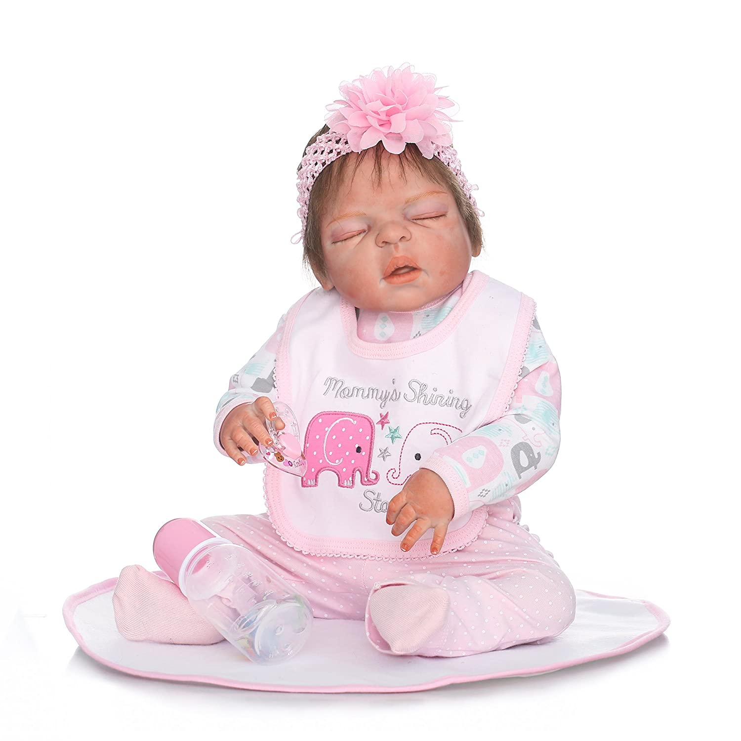 Aimeedoll 22inch Full Body Anatomically Correct Reborn Girl Doll Real Newborn Baby Size Bath Toy Waterproof