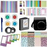 FollowSun 10 en 1 Kit d'Accessoires pour Appareils Photo instantané Fujifilm Instax Mini 8 8+ 9, Inclus Etui Noir/Album/Selfie Objectif/Filtres Colorés/Cadres/Autocollants de Bord/Coins/Stylo