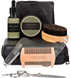 Cain Cavalli Premium 8 in 1 Beard Care Grooming Kit - Travel Case, Shaper Template, Apron, Organic Oil Conditioner & Wax Balm, Trimming Scissors, Comb, Brush - Ultimate Trimmer Accessories Set for Men