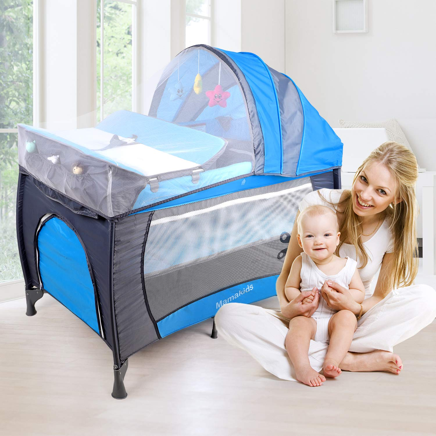 Baby Crib Travel Cot Bed Playpen with Toys /& Music,Nursery Center for Boys and Girls with Bassinet Changing Table Wheels and Brake Foldable and Portable Design with Carry Bag