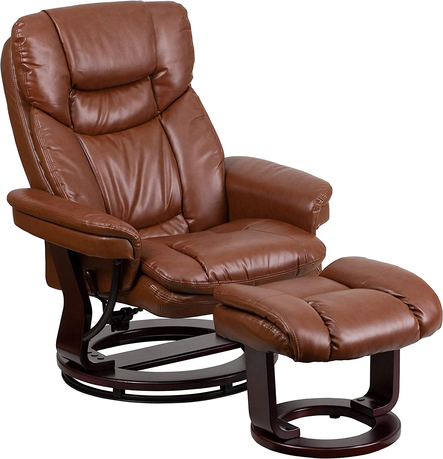 My Friendly Office MFO Contemporary Multi-Position Recliner Ottoman, Swivel Mahogany Wood Base in Brown Leather