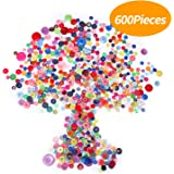 Senkary 600 Pieces Craft Buttons Decorative Sewing Buttons Assorted Buttons Resin Round Buttons Bulk 4 Holes and 2 Holes, Assorted Colors and Sizes