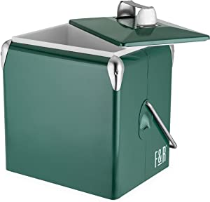 Foster & Rye 7070 Vintage Metal Portable Beverage Cooler and Ice Chest, Green, Set of 1