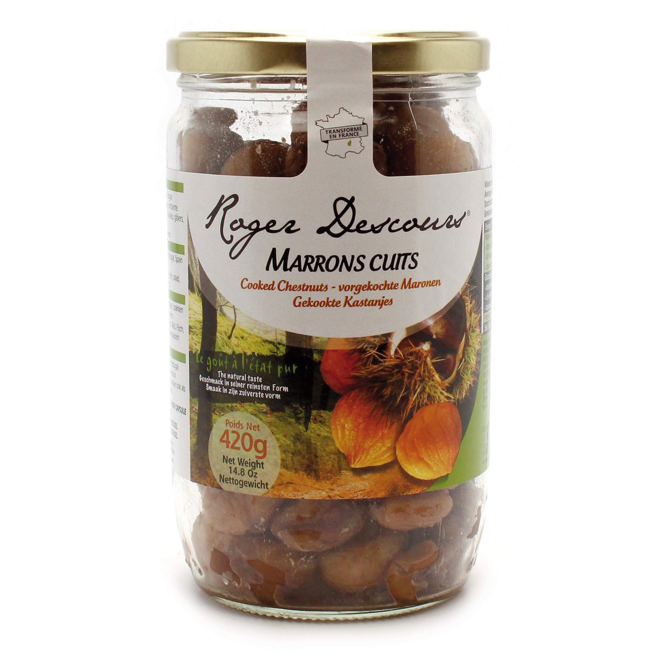 Concept Fruits Whole Roasted French Chestnuts - Peeled, Ready-to-eat, Steamed - Product of France - 14.8 oz Jar