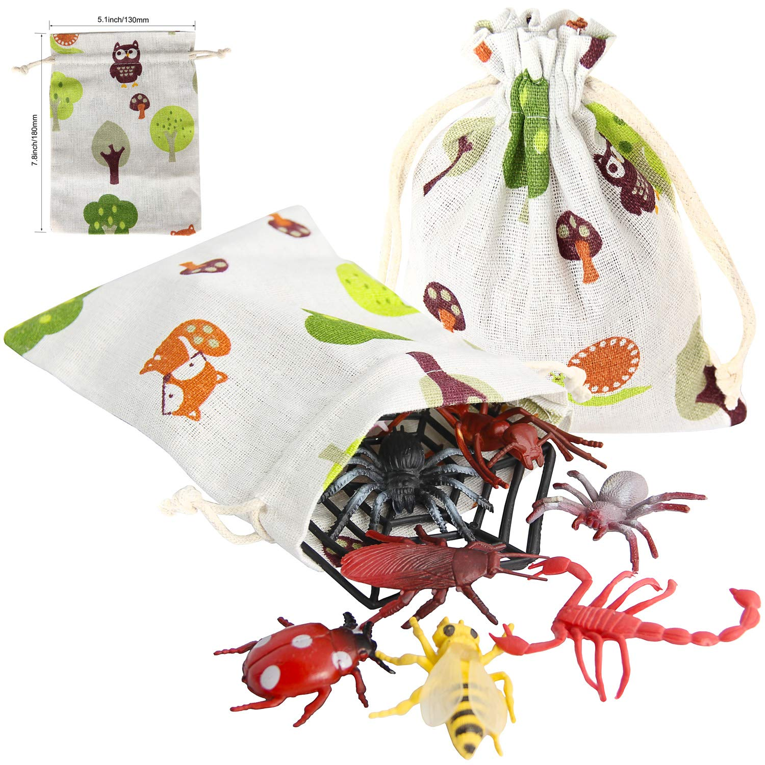 Cricket Cockroach 17 Pack Pinowu Bugs Toy Figures Playset for Party Favors Large Realistic Bugs Insects Include Fake Spider Centipede Mantis Frog with Burlap Bag