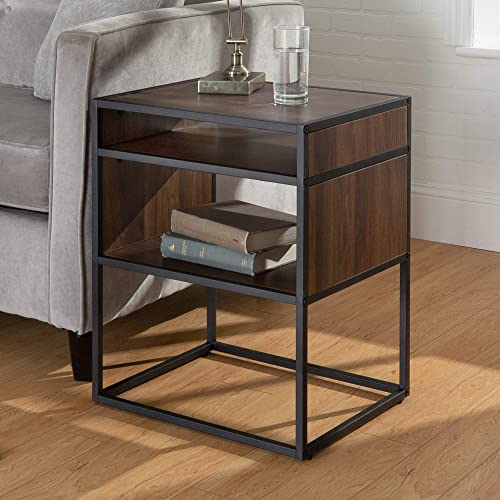Walker Edison AZF20JERDW WE Furniture Modern Square Open Shelf Side End Table