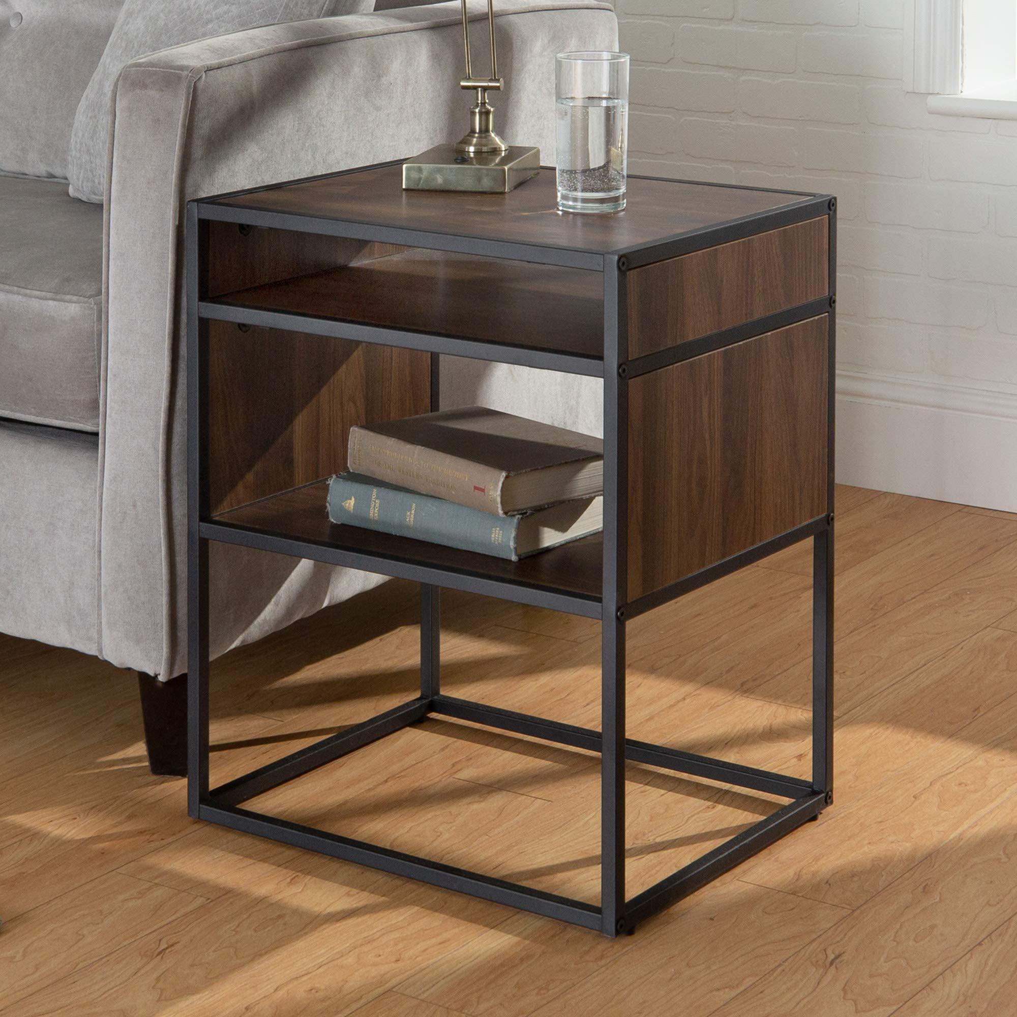 WE Furniture Modern Square Open Shelf Side End Table for Living Room Bedroom, 20'', Dark Walnut by WE Furniture
