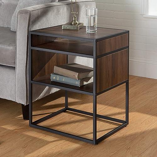 Walker Edison Industrial Modern Metal Frame Wood Rectangle Side Accent Set Living Room Storage Shelf End Table, Walnut Brown