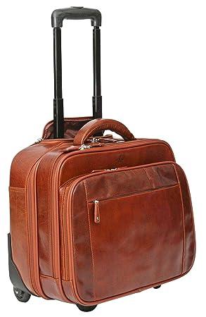 S Babila - Maleta de mano - Bolsa de viaje con compartimento para portátil - Cuero - Coñac: Amazon.es: Equipaje