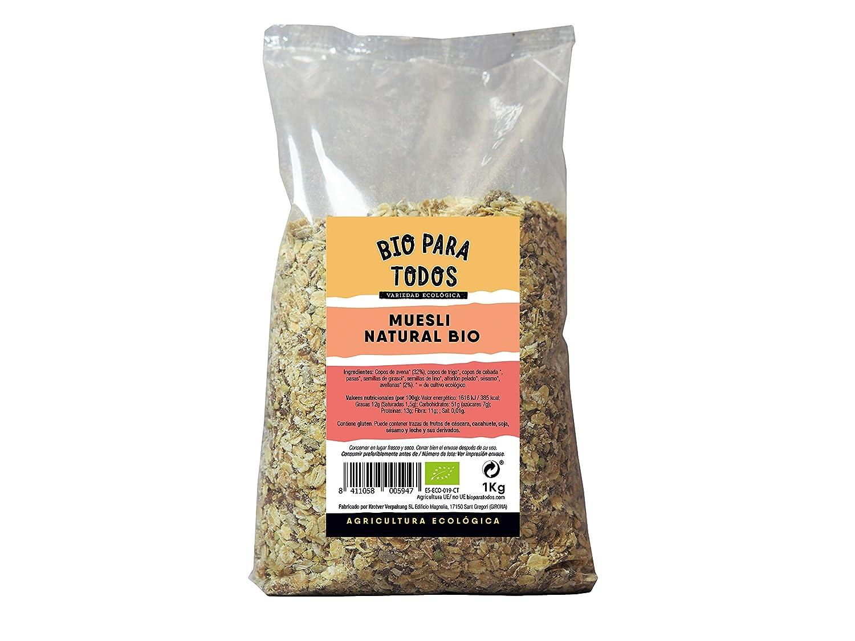 Bio para todos Muesli Natural Bio - 3 Paquetes de 1000 gr - Total: 3000 gr: Amazon.es: Alimentación y bebidas