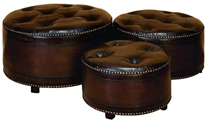 Peachy Amazon Com Wl57993 Set 3 Dark Brown Round Leather Ottoman Gmtry Best Dining Table And Chair Ideas Images Gmtryco