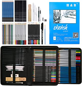 Charcoal Art Supplies for Artist Kids Watercolor Teens Sketch Book Include Colored Art Pencils Kit H/&B 72 Pack Drawing /& Sketching Set and Metallic Color Pencils Adults Beginner Graphite