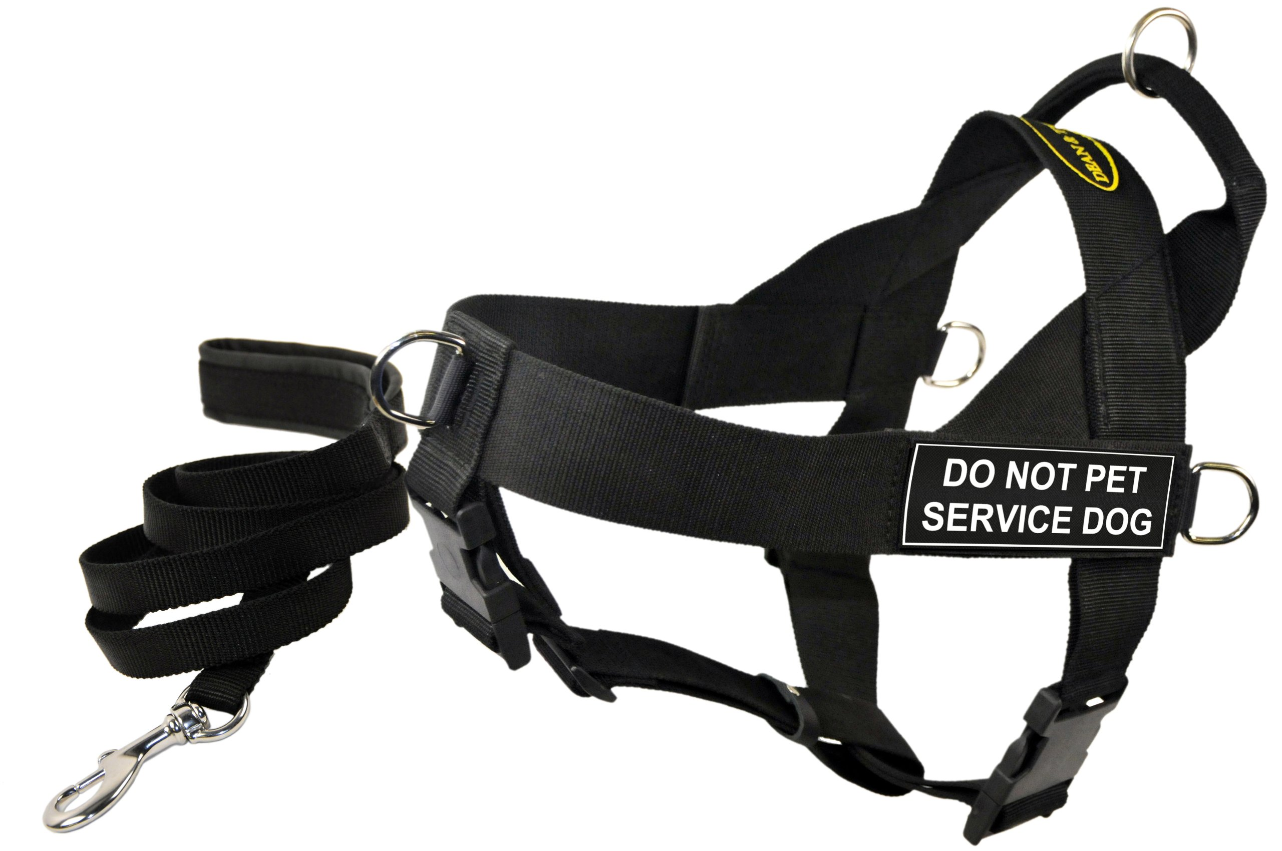 Dean and Tyler Bundle One DT Universal Harness, Do Not Pet Service Dog, Small (24, 27) + One Padded Puppy Leash, 6-Feet Stainless Snap, Black